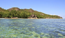Piękna Curieuse wyspa w oceanie indyjskim Zdjęcia Stock