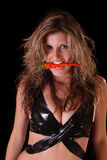 piękna czarny pieprzu czerwieni kobieta Obrazy Stock