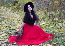 Piękna czarownica w lasowym Halloween Fotografia Royalty Free
