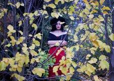 Piękna czarownica w lasowym Halloween Zdjęcia Stock