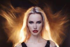 Piękna demon dziewczyna Obrazy Royalty Free