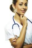 piękna doktorska kobieta odizolowywa biel Obrazy Stock