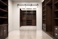Piękna drewniana horyzontalna garderoba i spacer w szafie Zdjęcie Stock
