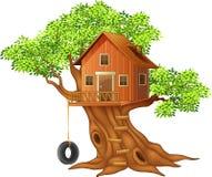 Piękna drzewnego domu kreskówka Obrazy Stock