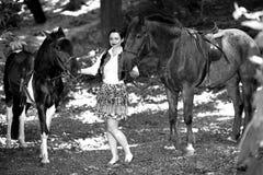 Piękna dziewczyna blisko brown konia Zdjęcie Stock