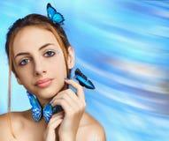 piękna dziewczyna motylia Fotografia Stock