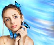 piękna dziewczyna motylia Fotografia Royalty Free