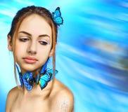 piękna dziewczyna motylia Zdjęcie Stock