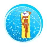 Piękna dziewczyna sunbathing w basenie ilustracja wektor