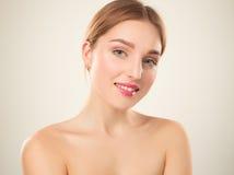 piękna dziewczyna twarzy idealna skóra Obrazy Stock