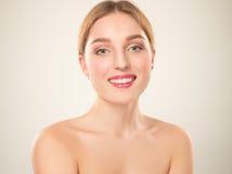 piękna dziewczyna twarzy idealna skóra Zdjęcie Royalty Free