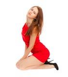 Piękna dziewczyna w czerwonej sukni Obrazy Royalty Free