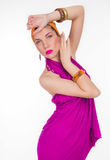 Piękna dziewczyna w kolor sukni Fotografia Royalty Free