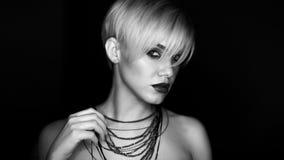 Piękna dziewczyna z makeup moda portret kobiety Zdjęcie Stock