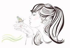 Piękna dziewczyna z motylem Obrazy Stock