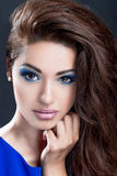 Piękna dziewczyna z perfect skóry i wieczór makeup Obraz Stock