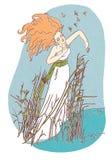 Piękna dziewczyna zostaje w wodnej ilustraci Zdjęcia Stock