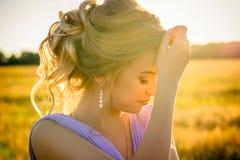 Piękna eleganci dziewczyna na zmierzchu Obraz Stock