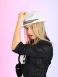 piękna europejska kapeluszowa kobieta Obraz Stock