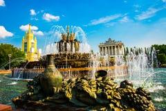 Piękna fontanna i pawilon ENEA, VDNH, VVC moscow Rosji Zdjęcie Stock