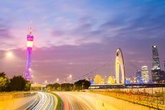 Piękna Guangzhou linia horyzontu w zmroku Zdjęcia Royalty Free