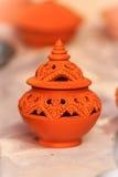 Piękna handmade ceramiczna lampa w Thai stylowych wzorach garncarka Zdjęcie Stock