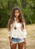 Piękna hipis dziewczyna w parku Obraz Royalty Free