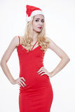 Piękna i seksowna kobieta jest ubranym Santa klauzula kostium Zdjęcia Royalty Free