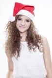 Piękna i seksowna kobieta jest ubranym Santa klauzula kostium Fotografia Stock