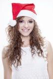 Piękna i seksowna kobieta jest ubranym Santa klauzula kostium Obraz Royalty Free