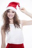 Piękna i seksowna kobieta jest ubranym Santa klauzula kostium Zdjęcie Royalty Free