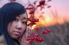 piękna jagodowa kobieta Zdjęcia Royalty Free