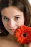 piękna jaskrawy kwiatu czerwieni kobieta Zdjęcia Stock