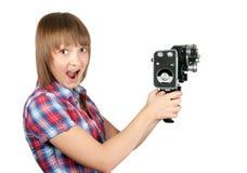 piękna kamery dziewczyny filmu szkockiej kraty koszula Zdjęcie Royalty Free