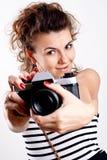 piękna kamery koszula kobieta Obraz Royalty Free