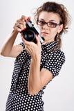 piękna kamery kropki sukni polki kobieta Obraz Stock