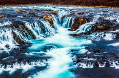 Piękna kaskadowa bruarfoss siklawa, Iceland Zdjęcia Stock
