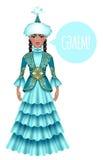 Piękna kazach kobieta w krajowym kostiumu Fotografia Stock