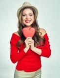piękna kierowa mienia czerwieni kobieta Obrazy Stock