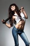 piękna kij bejsbolowy kobieta Fotografia Stock