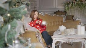 Piękna kobieta jest ubranym zima strój pije herbaty z miodownikiem w domu blisko choinki zbiory