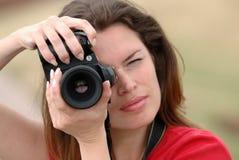 piękna kobieta kamery. Zdjęcie Royalty Free