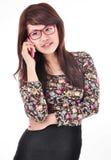 Piękna kobieta na telefonie Zdjęcie Stock