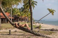 Piękna kobieta relaksuje na drzewku palmowym obrazy royalty free