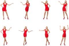 Pi?kna kobieta w czerwieni sukni odizolowywaj?cej na bielu obraz royalty free