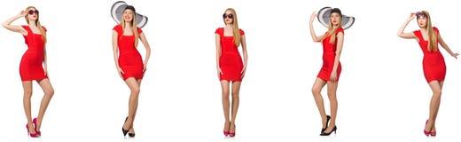 Pi?kna kobieta w czerwieni sukni odizolowywaj?cej na bielu fotografia stock
