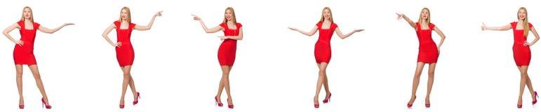 Pi?kna kobieta w czerwieni sukni odizolowywaj?cej na bielu zdjęcia royalty free