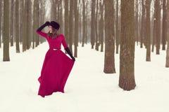 Piękna kobieta w zima lesie Zdjęcie Royalty Free