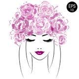 Piękna kobieta z akwarela kwiatami Wektorowe akwareli peonie Obrazy Royalty Free