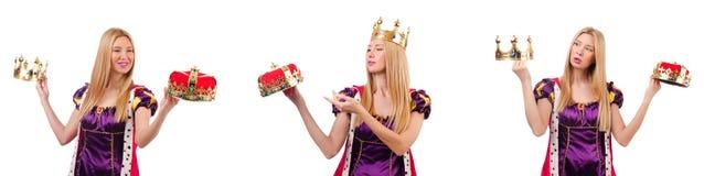 Pi?kna kobieta z koron? odizolowywaj?c? na bielu obraz stock